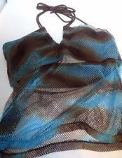 No Boundaries Swim Bathing Suit Nylon Tankini Size 14 Padded Bra Brown Aqua Net