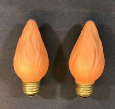2 Vintage Antique Mazda Amber Flame Lamp Bulbs