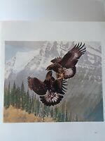 """Frances  Lee Jaques-""""GRAPPLING EAGLES """", -Wildlife Art Print- 11.5x10"""