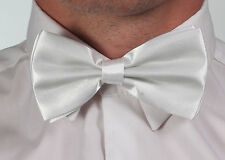 New  Mens Plain White Pre Tied Wedding Party Fancy Plain Necktie tie Bow ties