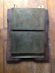Vintage Letter Rack Oak Brass Art Deco Etching wall mounted