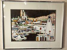 Vintage Print SAUSALITO California San Francisco Artist Woody Hansen FRAMED