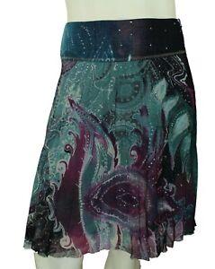 Roberto Cavalli Class Womens Skirt Green Wool Blend Size 8