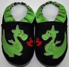 minishoezoo soft sole leather baby walking shoes 12-18m dragon black