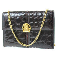 CELINE Chain Shoulder Bag Emboss Dark Brown Lather Italy Vintage Auth #C882 W