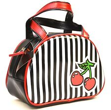 Cherry Stripe Purse  By Addicted Punk Gothic Rockabilly Teen Sexy Fetish