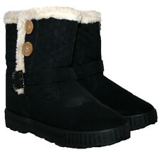 LADIES BLACK FUR LINED WINTER SNOW BOOT WITH SIDE ZIP BLACK 5