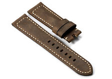 22mm Dark Brown Genuine Asso Leather Watch Band Strap For Panerai Luminor 1950