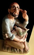 Nautical ANTIQUE Porcelain figure Beard, Red hat, pipe & basket of fish