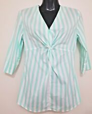 SIZE 10 WOMEN'S AQUA GREEN & WHITE STRIPE 3/4 SLEEVE 'RHODES & BECKETT' TOP BNWT
