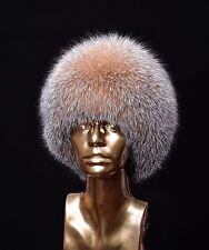 Real Golden Amber Frost Fox Handmade Ladies Cossack Winter Hat