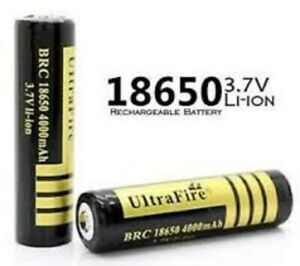 ultrafire 4000mAh 3.7V Li-ion Rechargeable Battery for LED Flashlight Black (2x)