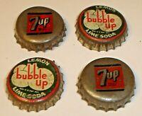 Vintage Lot (4) Cork Lined Soda Pop Crown Bottle Caps Bubble Up Lemon Lime & 7UP
