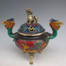 Chinese Cloisonne Carved Dragon Incense Burner & Lion Lid w Ming XuanDe Mark