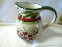 Vintage WCL Pottery Water Jug/Pitcher-Floral-Pink/Green-NEW