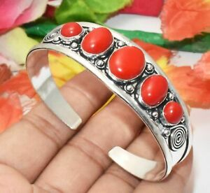 Coral Gemstone Cuff Bangle Bracelet 925 Silver Overlay S-WBG-20