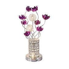 Delux Purple Flowers Chrome Embossed Pattern Silver Metal Vase LED Table Lamp