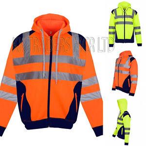 Mens Hi Vis Jacket Work Safety Visibility Contrast Patches Zipper Fleece Hoodies