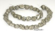 13MM-10MM PALAZZO IRON PYRITE GEMSTONE RUGGED NUGGET PEBBLE LOOSE BEADS 6.5""