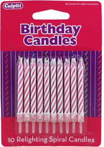 PINK Culpitt Relighting Spiral Candles Magic Trick Wedding Birthday Party 10 pk