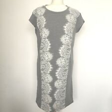 Women Grey Shift Dress White Lace Stretch Knee Short Sleeved Small Save 50% Off