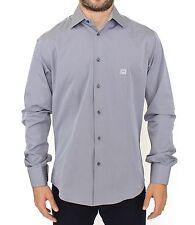 NWT CLASE ROBERTO CAVALLI Gris Algodón Elástico Camisa manga larga Casual S XL
