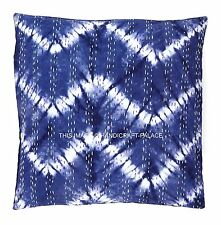 """New Tie Dye Kantha Blue Cushion Cover Indian Cotton Throw Gypsy Pillow Cover 16"""""""