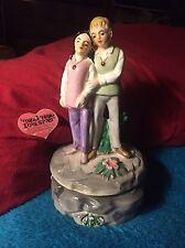 Vintage 1970s Sankyo Theme From Love Story Revolving Wind Up Music Box Japan