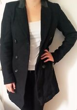 Black woolen coat with leather collar. UK size 6-8. Worn for 2 weeks only.
