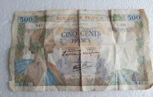Billet ancien de 500 Francs Banque de France