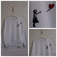 Actual Fact W Balloon x Banksy Street Art White Crew Neck Sweatshirt Top