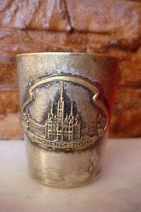 RARE ANTIQUE GERMAN REICHENBERG RATHAUS BRASS SILVERED Shot Drink CUP