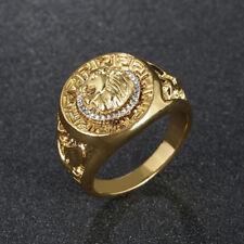 Chapado en Oro Anillo de Signet Anillo de Cabeza de León Varios Tamaños