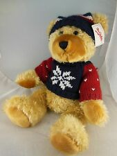 """14"""" Mrs Fields Teddy Bear Plush with Christmas/Winter  Knitted Hat & Sweater"""