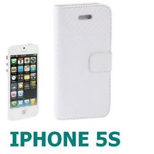COVER PELLE+PELLICOLA 3STRATI per APPLE IPHONE 5 5S A LIBRO CUSTODIA bianco ECO