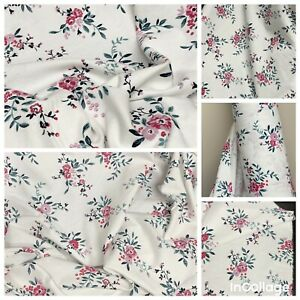 """Ivory Pink Floral Soft Brushed Cotton Fabric 43"""" Wide..meter Price"""