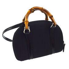 GUCCI Bamboo Line 2way Hand Bag Wallet Purse Black Nylon Italy Auth AK25256c