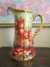 """Limoges France Hand Painted Poppies Tankard Pitcher Signed Leon 11"""""""