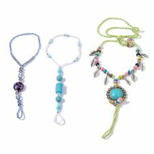 ANKLETS SIMULATED PEARL GLASS SHELL HOWLITE TOE RING ANKLET SET OF 3 ADJUST BLUE
