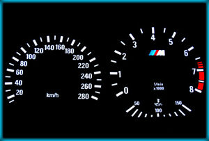 G030 BMW E36 M3 91-99 EU 280KMH BLACK/WHITE EL Plasma Glow Cluster Gauges Speedo