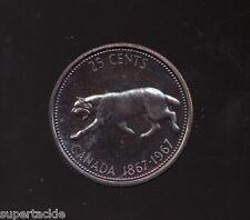 """1967 Canada Silver 25 cent """"Running Bobcat"""" Specimen Issue blue toning"""