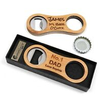 Personalised Custom Bamboo Bottle Opener + Gift Box | Father's Day Unique Gift