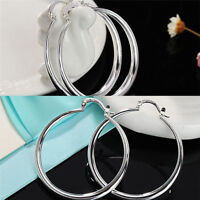 Silver Fashion Jewelry Three-dimensional Round Sterling Silver Hoop Earring WH