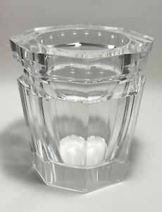 Vintage Octagon Faceted Acrylic Lucite Grainware Clear Flat Side Modern Vase