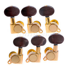 Set of 3x3 Acoustic Guitar Tuning Pegs Machine Heads Amber Brown Buttons