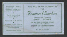 THE KENMORE CHAMBERS ROOMS FOR RENT BOSTON MASS $4 PER DAY INK BLOTTER UNUSED