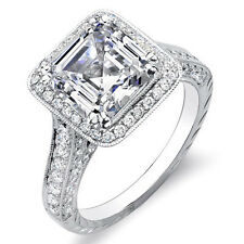 2.69 Ct. Asscher Cut w/ Round One Row Halo Diamond Engagement Ring D,SI1 EGL 18K