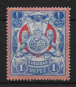 ZANZIBAR SG220a 1904 1r BLUE & RED WMK SIDEWAYS MTD MINT