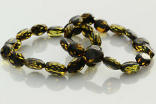 Lot of 2 Faceted Olive Beads Genuine Baltic Amber Stretch Bracelet 17.7g b0913-9