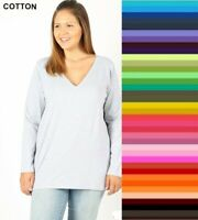 Plus Size Zenana V Neck TShirt Long Sleeve Cotton Spandex Top XL/1X/2X/3X